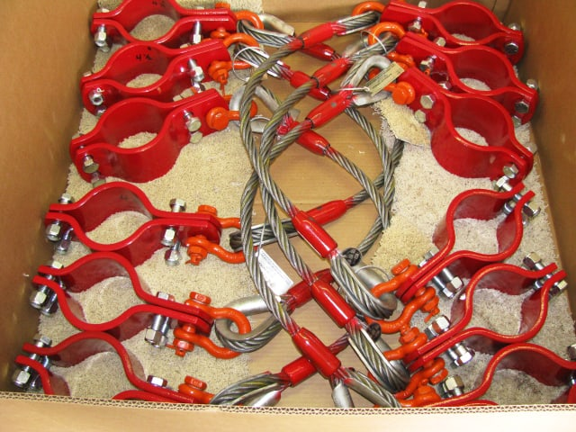 pipe hobble, piping safety clamp, frac iron restraint, cable, shackles