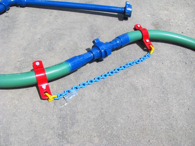two bolt hobble hose or pipe clamp with safety g100 chain