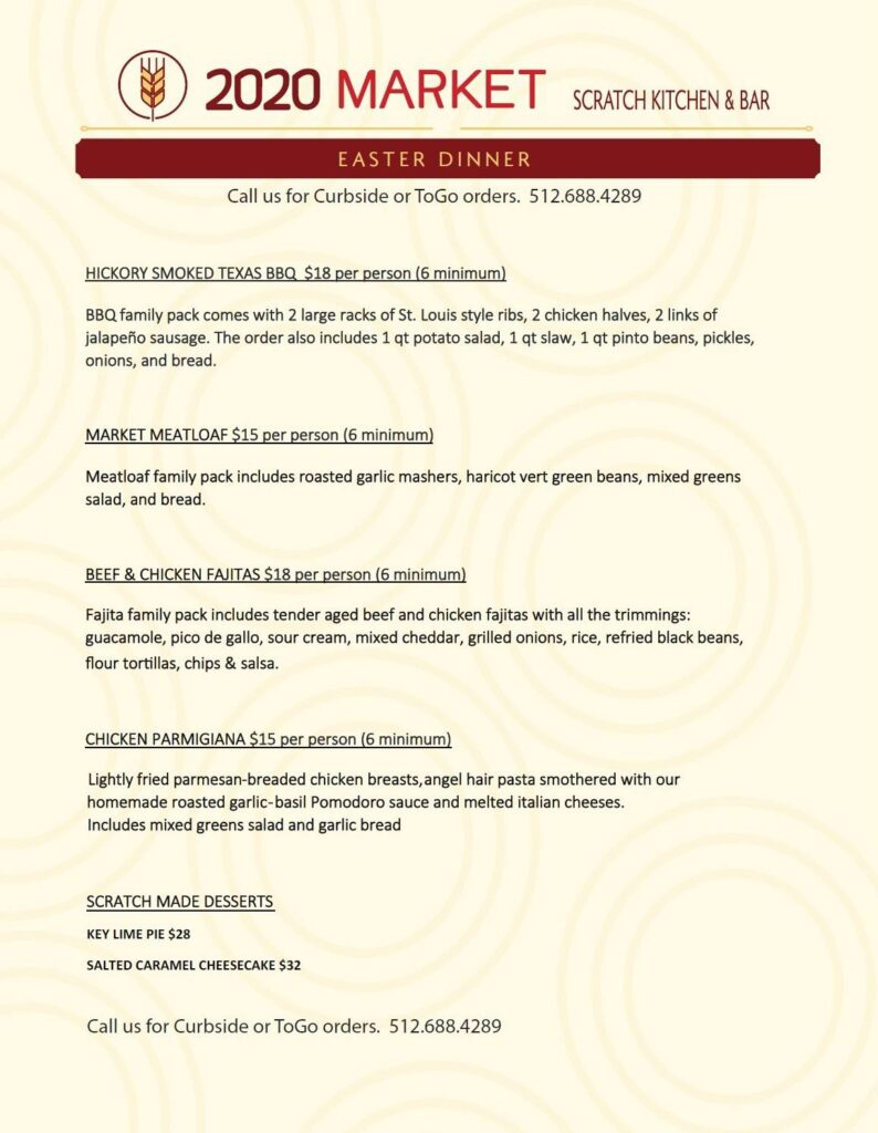 Special Advance-Order Easter Menu