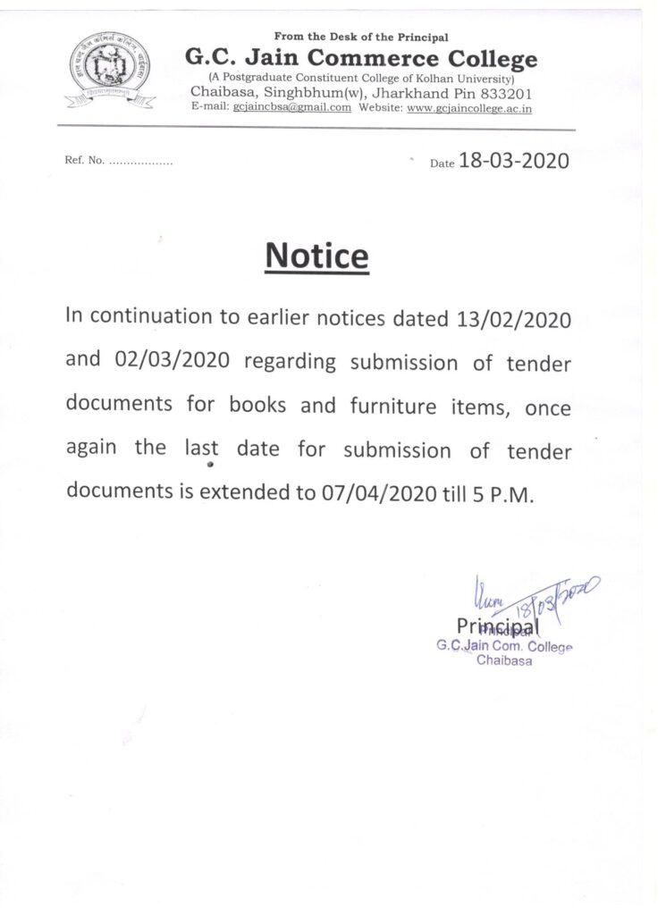 Public Notice: Extended date for submission of tender documents for books and furniture - GC Jain Commerce College