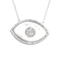 Mother of Pearl Evil Eye White Gold