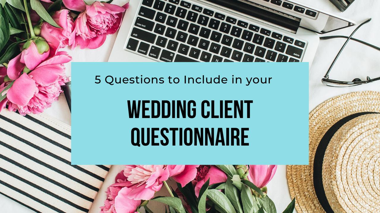 wedding client questionnaire header
