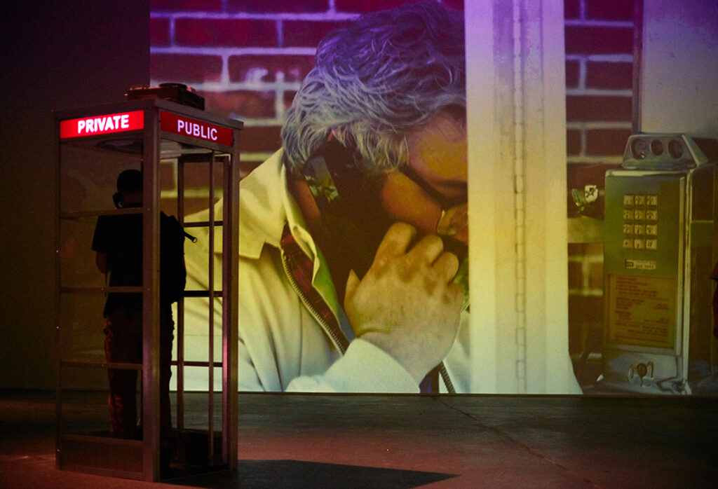 Telephone booth and video projection