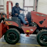 Darnell Sutton CEO / Hollywall Development Company, LLC at our partner Corbel Communications Facility testing out our exclusive Ditchwitch Microtrenching machine.