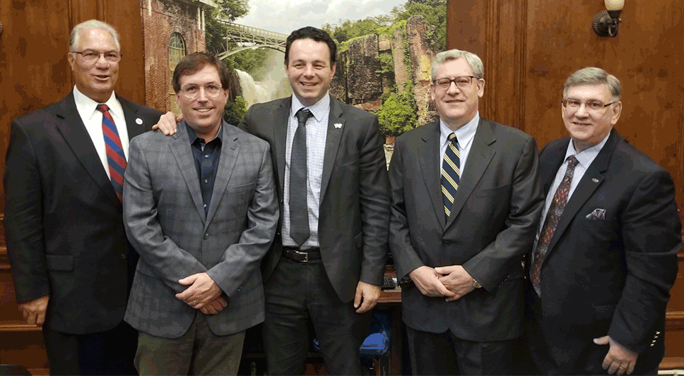 Mayor Andre Sayegh, Paterson, NJ with: Director of Economic Development, Michael L. Powell; Pennoni Execs. Anthony Bartolomeo & Jerry Prevete and AJ Pino, CEO of Corbel Communications Industries.