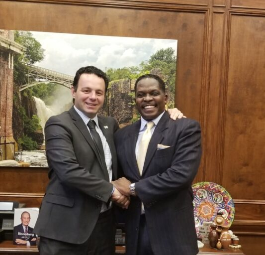 Darnell Sutton meets Mayor André Sayegh of Paterson NJ