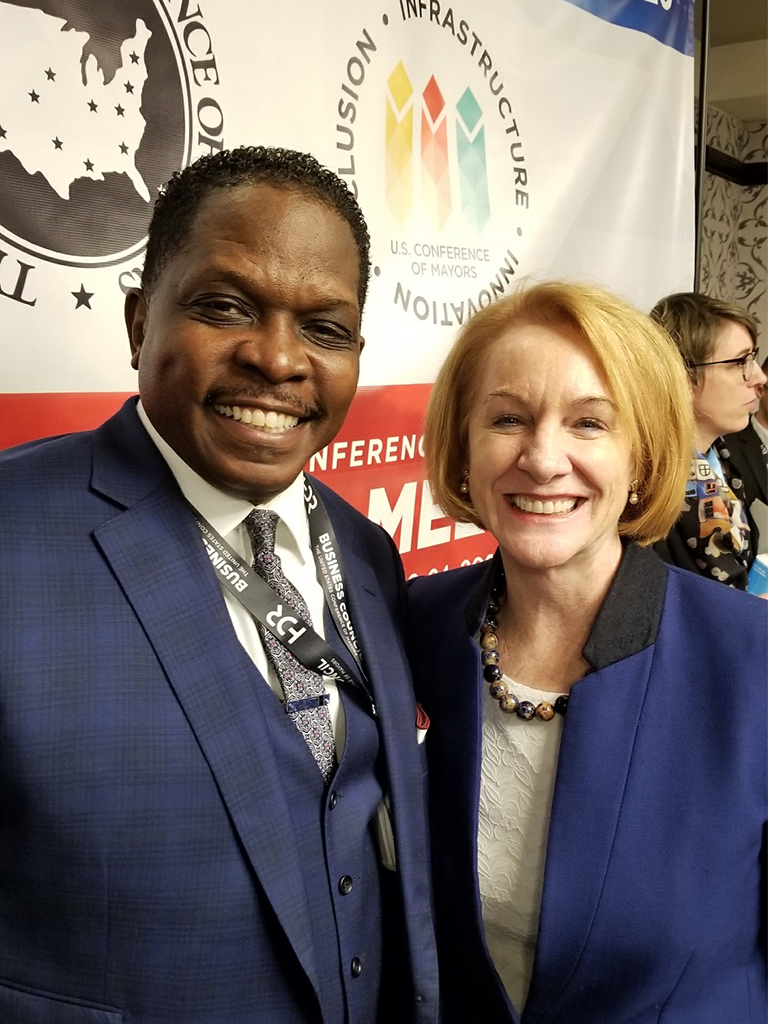 Darnell Sutton, CEO HWDC with Mayor Jenny Durkan, Seattle, Washington