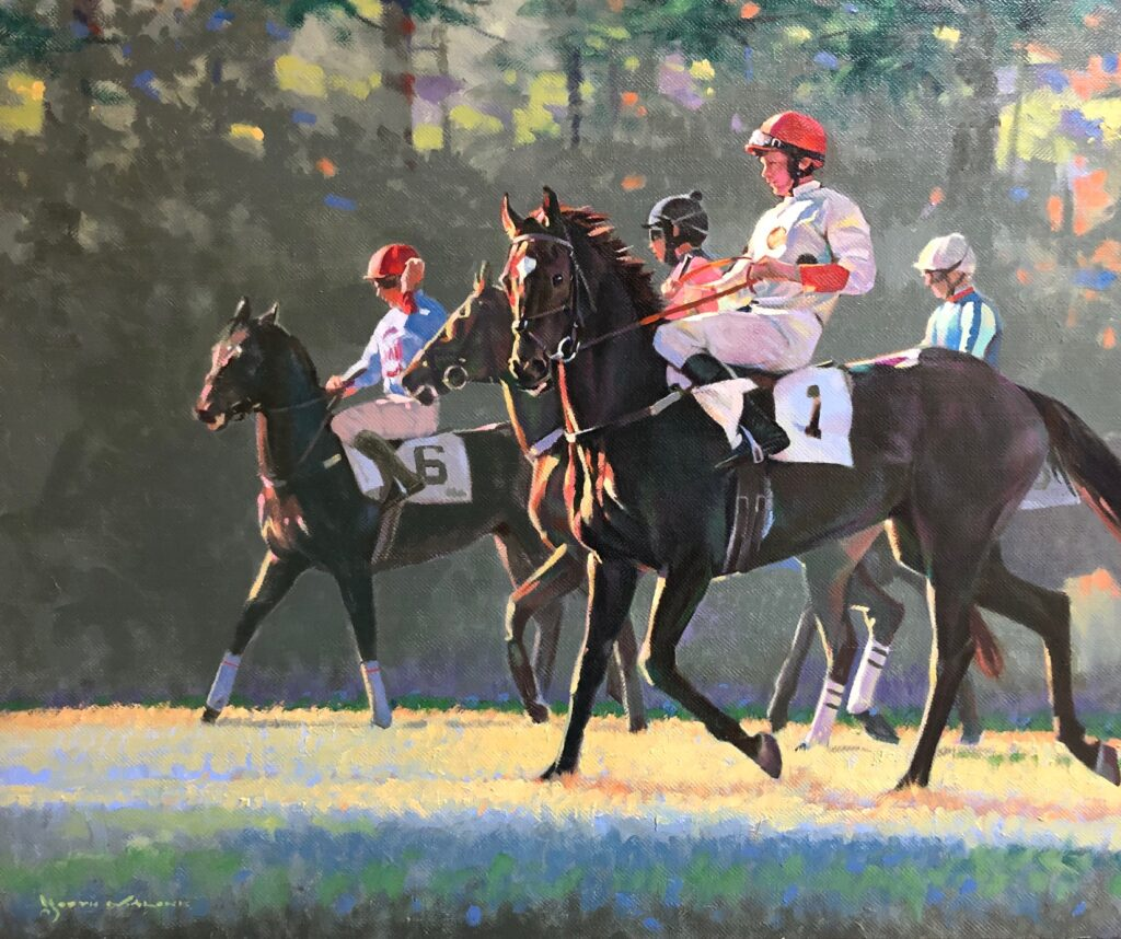 painting of race horses lining up