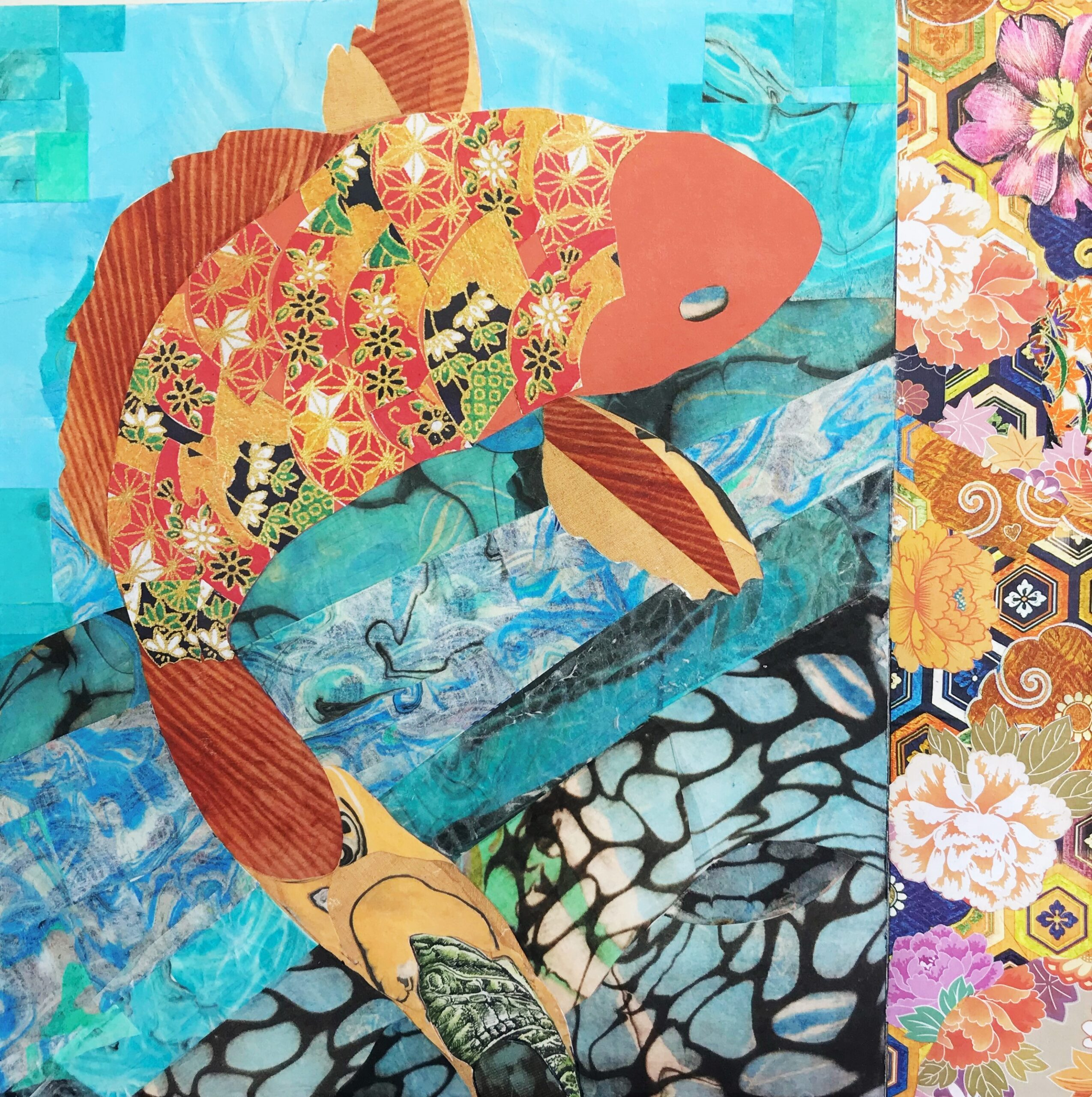 koi fish paper collage