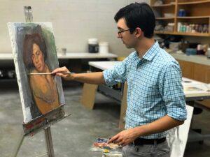 joseph kameen painting in studio