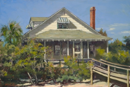 William McCullough, House at Pawleys Island, Sc, 2007, original oil painting.