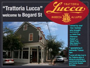 Trattoria Lucca opens on Bogard St, charleston sc new italian restaurant downtown