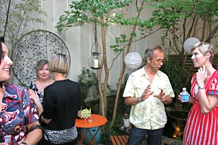 Conversations over champagne in the garden terrace