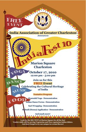 India Fest in Charleston Sc October 17th from 12-5pm in Marion Square downtown Charleston Sc Indian Food and cultural Activities