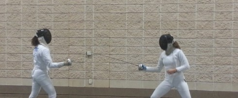 A lesson in fencing at the Knoxville Convention Center