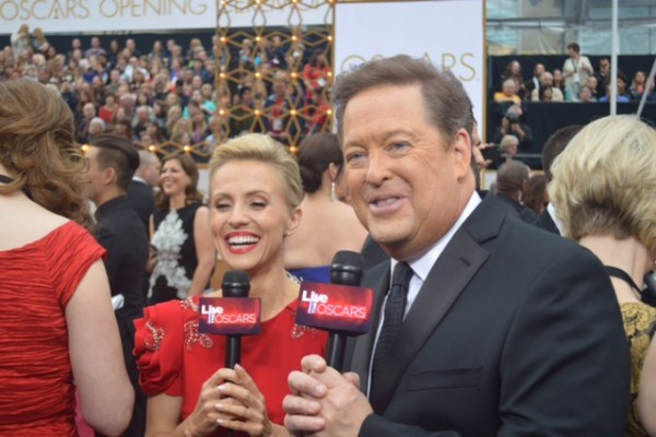 Oscars 2015 and Jessica Holmes and Sam Rubin and KTLA TV Anchor & TV Host
