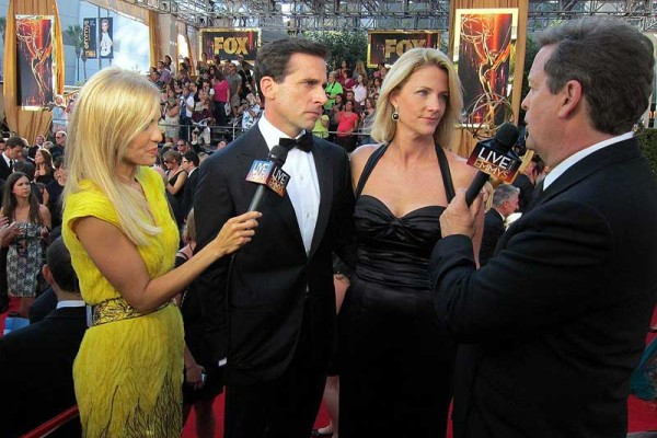 Emmys Red-carpet - Jessica Holmes - KTLA TV Anchor & TV Host with Sam Rubin and Steve Carrell