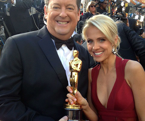 Oscars Red carpet - Jessica Holmes - KTLA TV Anchor & TV Host with Sam Rubin
