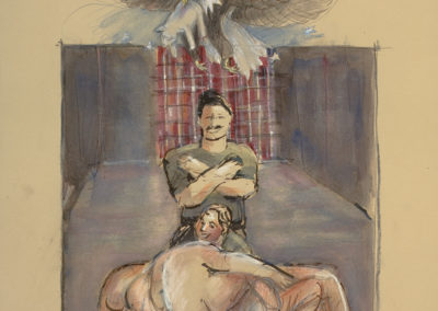 "Abu Ghraib #6, mixed media on paper, 22"" x 15"", 2006"