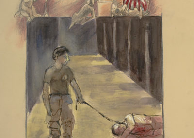 "Abu Ghraib #4, mixed media on paper, 22"" x 15"", 2006"