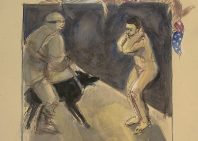 "Abu Ghraib #5, mixed media on paper, 22"" x 15"", 2006"