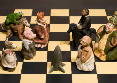 "Detail: Chess Board: Fantasy and Intellect in Combat, mixed media, 48 x 48 x 40"", 2005"