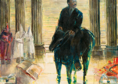 "Black Man On A Black Horse, oil on canvas, 72 x 66"", 2007"