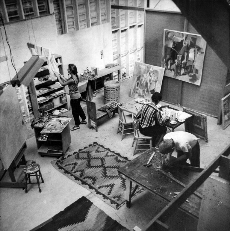 Elaine Badgley Arnoux in her San Luis Obispo studio in the late fifties.