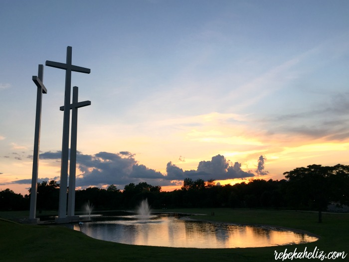 rogers, arkansas, sunset, crosses, lake, clouds, weather