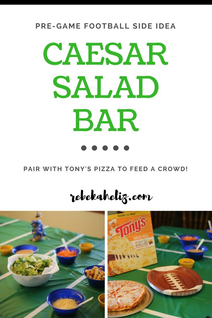 tony's pizza, pizza, cheese pizza, football, football party, caesar salad
