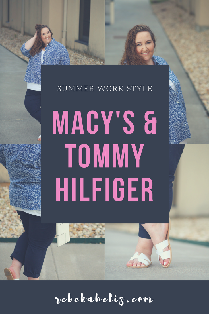macy's, tommy hilfiger, macys, summer style, wear to work, blue and white, plus size, plus size outfits, curvy style, curvy fashion