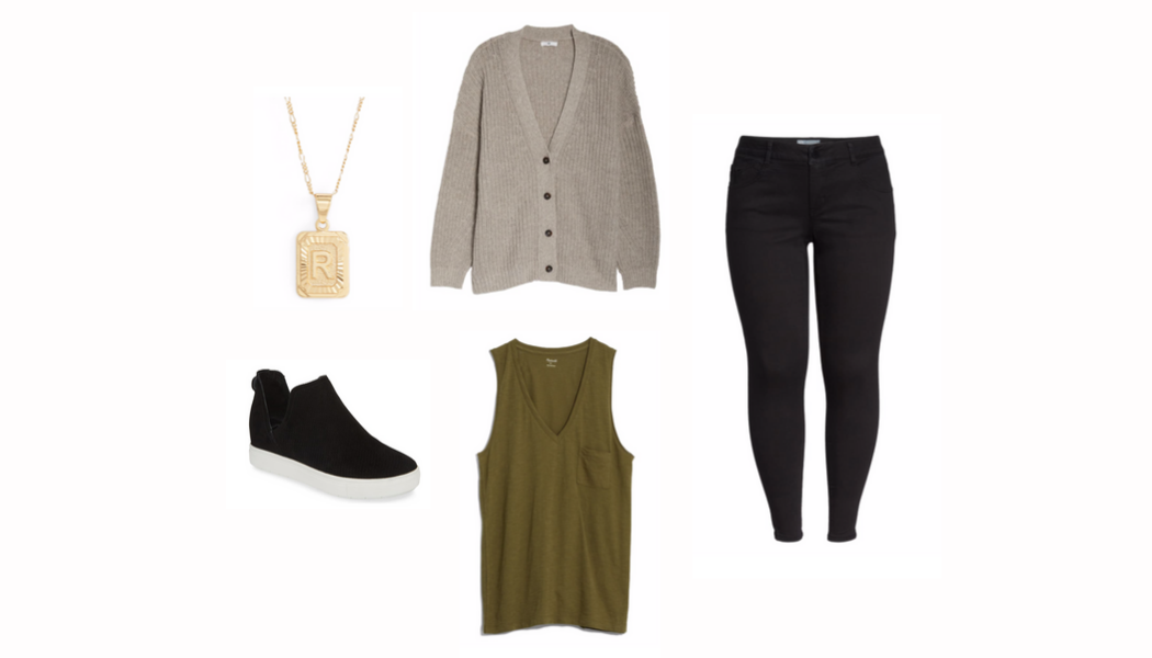 fall neutrals, black jeans, curvy style, #rebekahelizstyle, fall style, olive green, sweater, gold necklace, Nordstrom