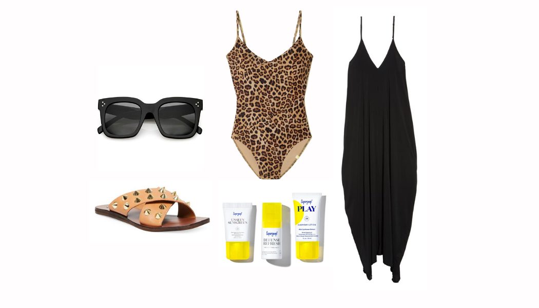 leopard swimsuit, plus size leopard swimsuit, studded sandals, Celine dupe sunglasses, supergoop, coverup, beach outfit, pool outfit