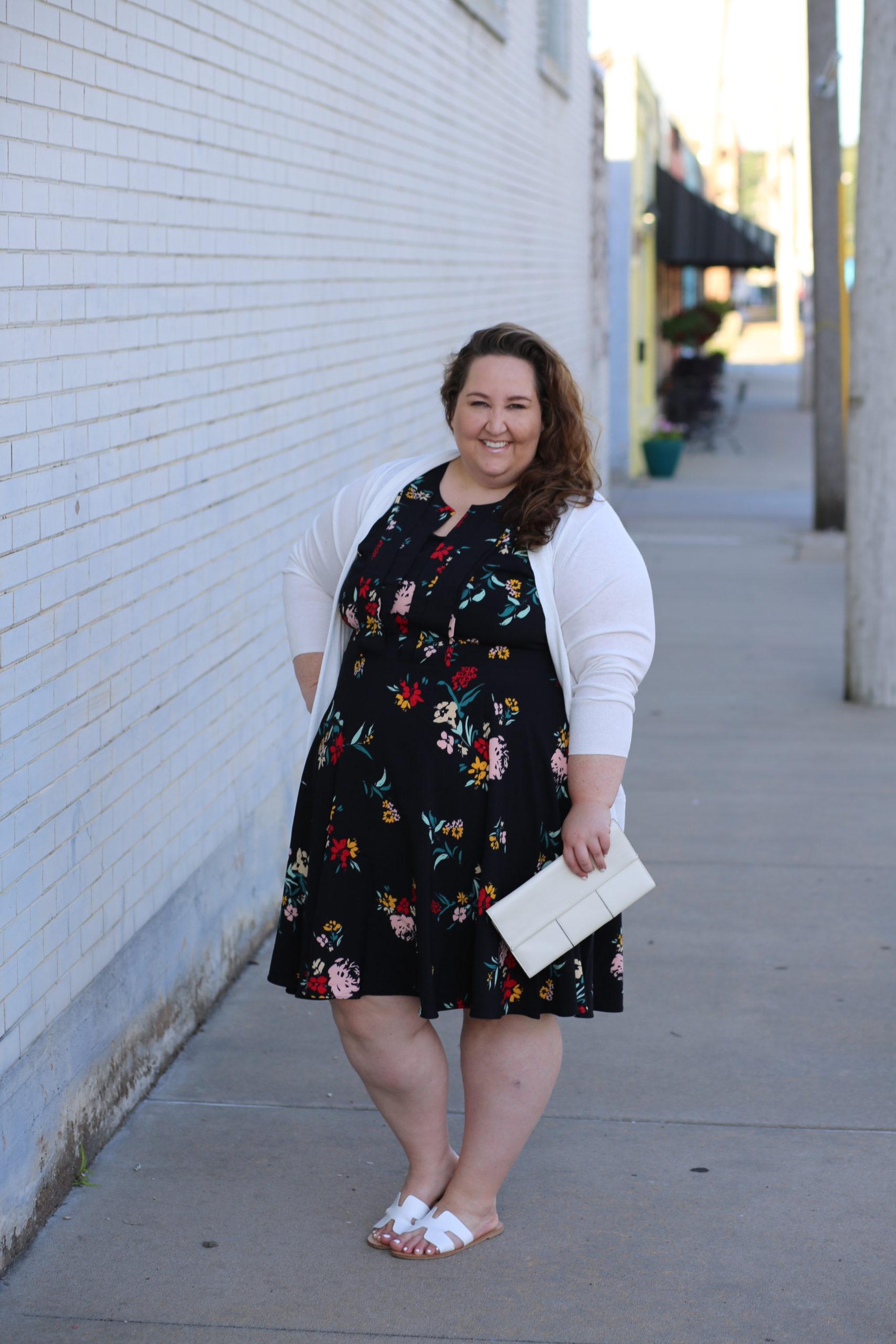 floral dress, plus size style, white cardigan, white clutch, white sandals, dia & co.
