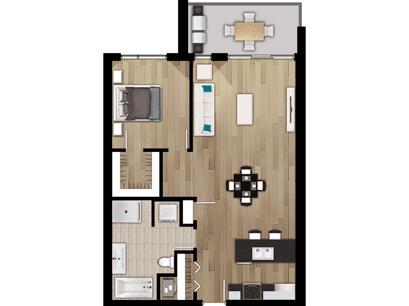 Plan appartement, 6170 Davis, 402