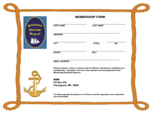 Mississippi Maritime Museum Membership Form