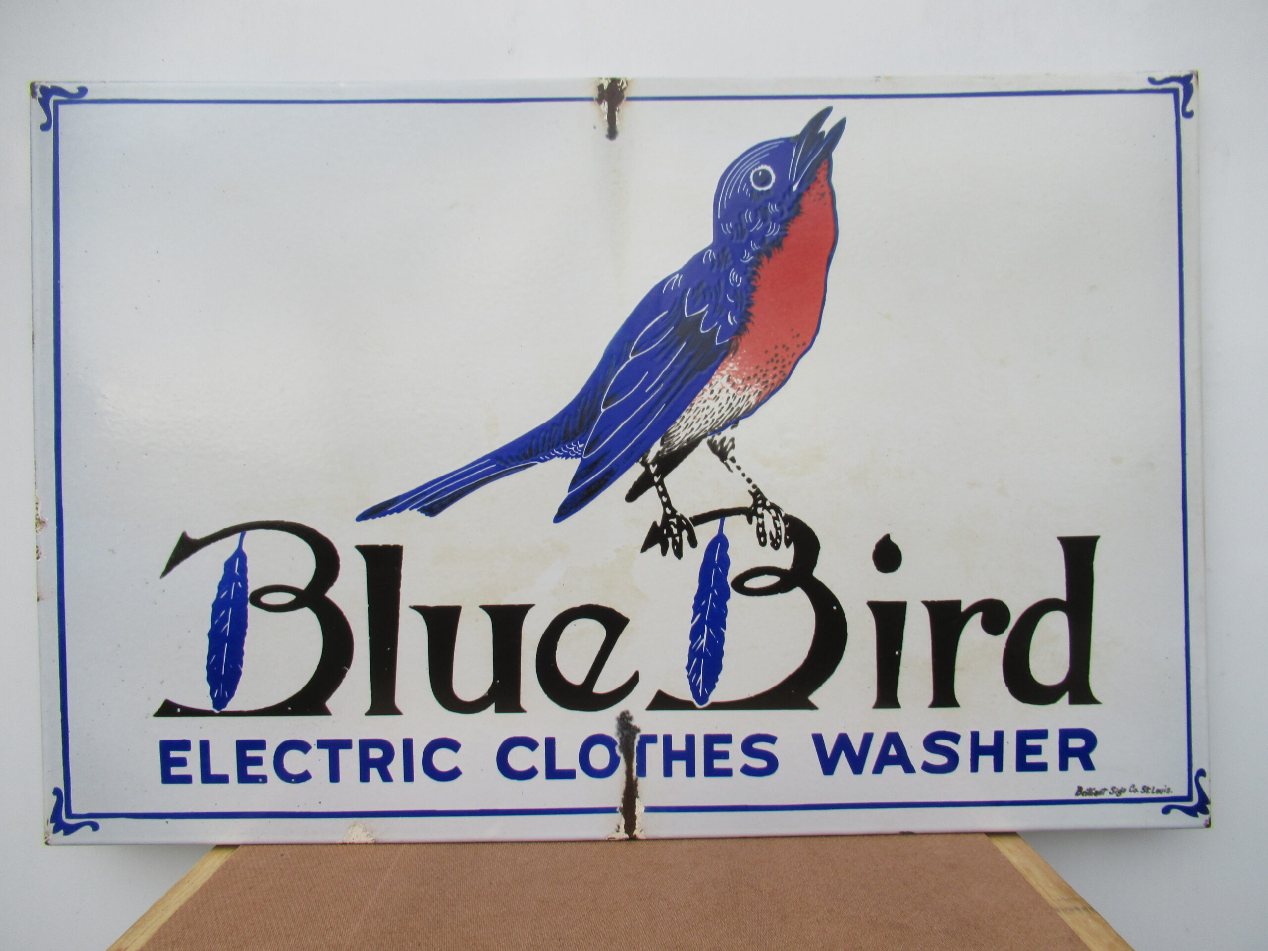 23×35″ SSP 1920 Blue Bird Porcelain Sign