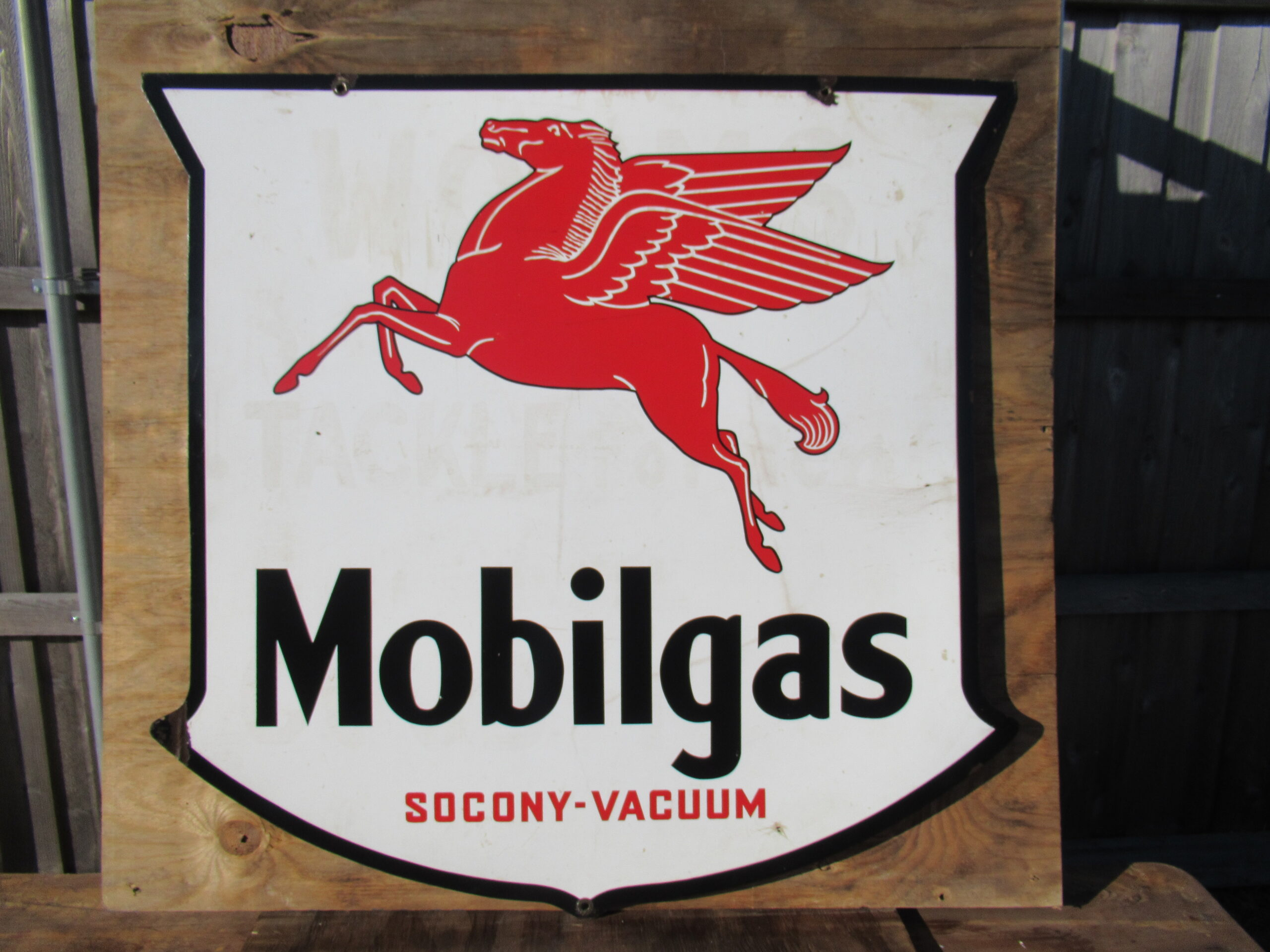 48×48″ DSP 1920 Mobil Gas Porcelain Shield Sign
