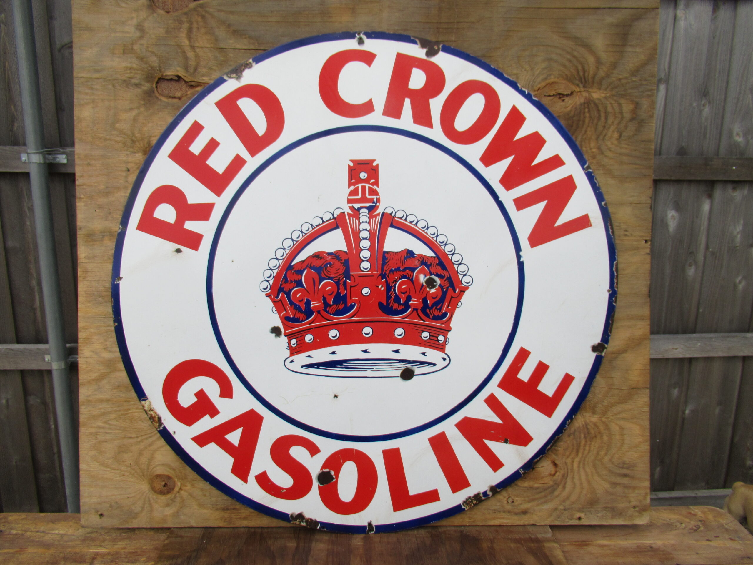 42″ SSP 1930 Red Crown Porcelain Sign