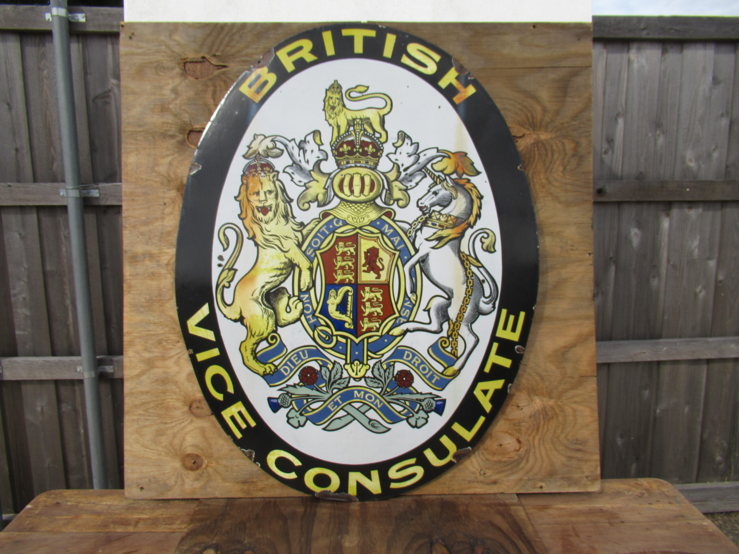 48×36″ SSP 1920 British Consulate Porcelain Sign