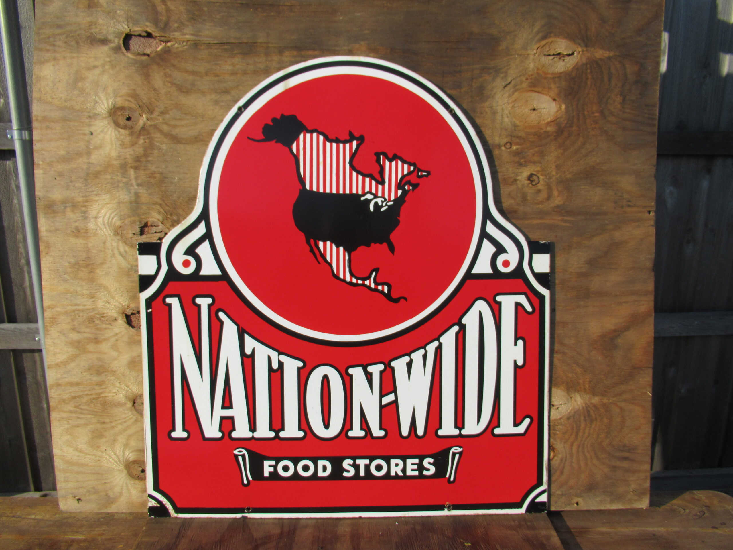 36×32″ DSP 1940 Nation-Wide Food Stores Porcelain Sign Mint!