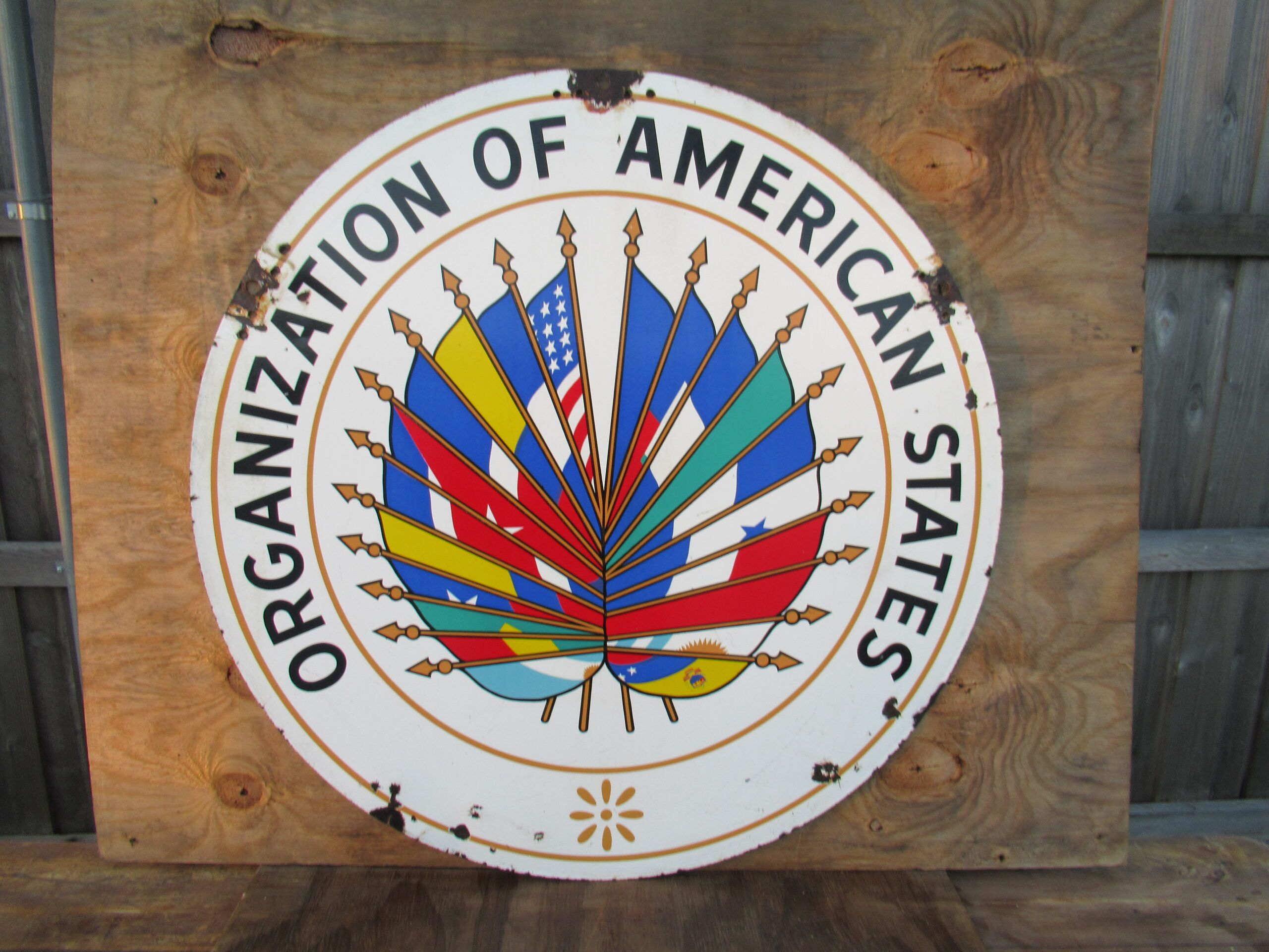 36″ DSP 1950 Organization of American States Porcelain Sign