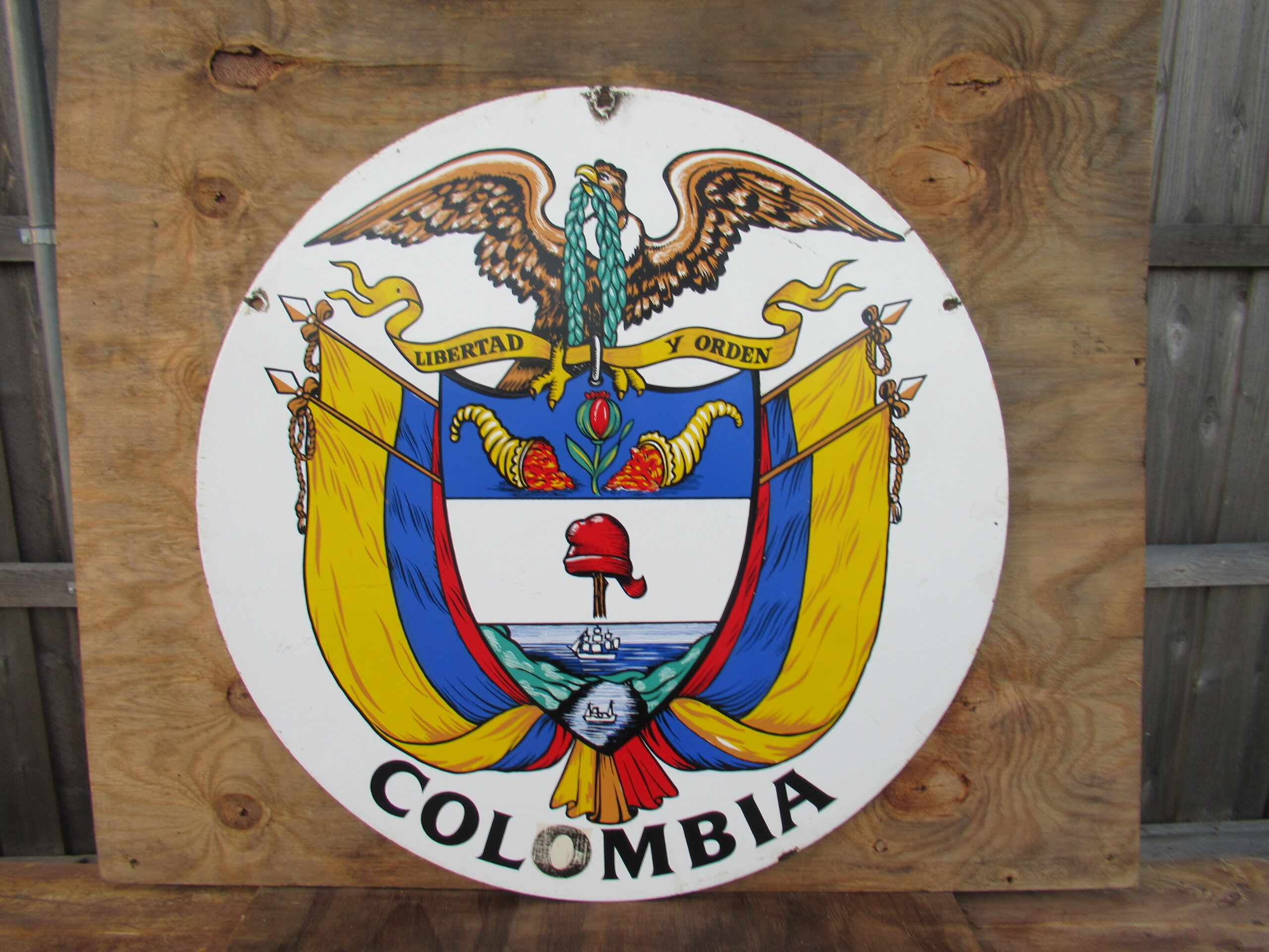36″ DSP 1950 U.N. Colombia Flag Porcelain Sign
