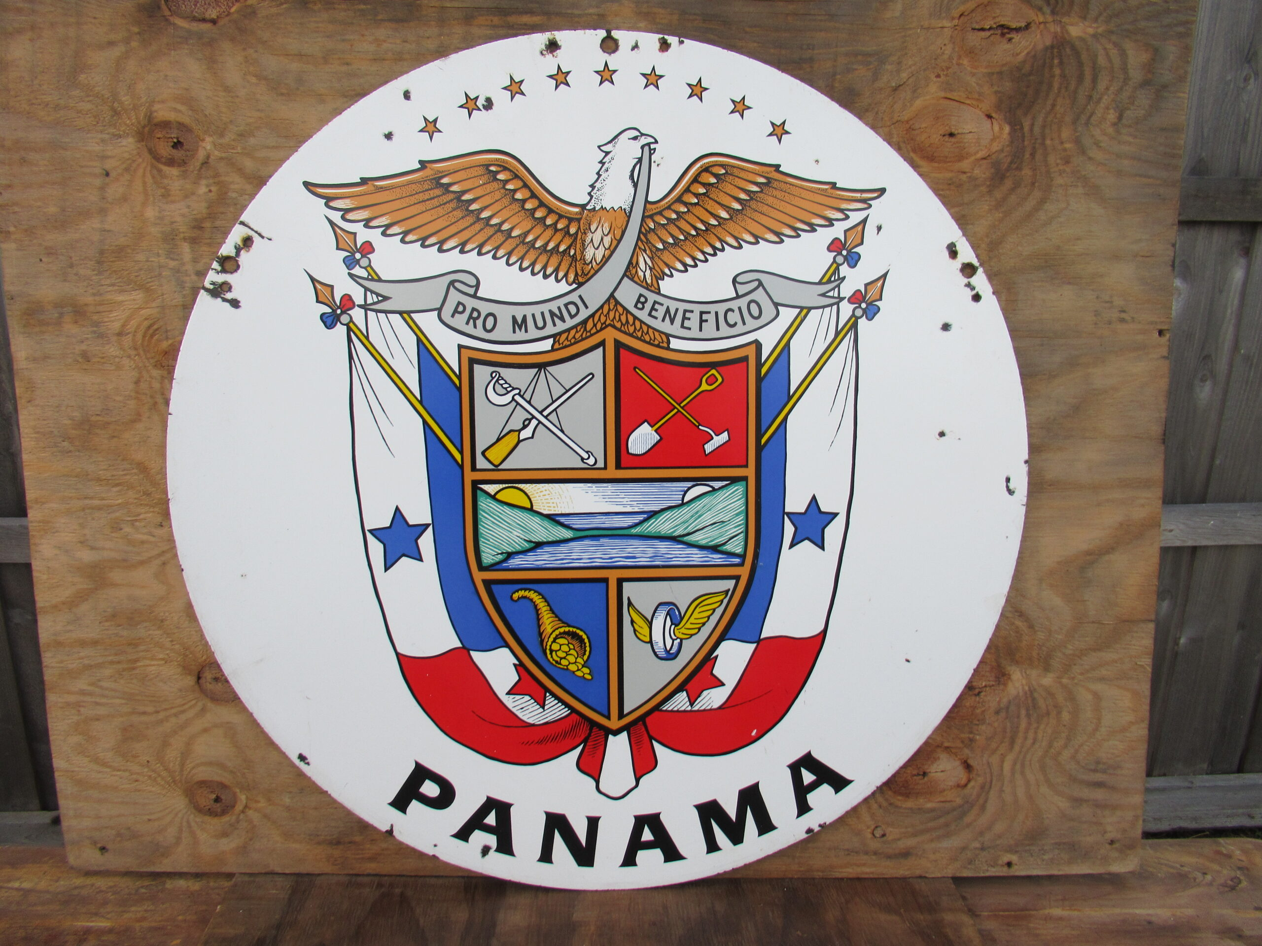 36″ DSP 1950 Panama Flag Porcelain Sign
