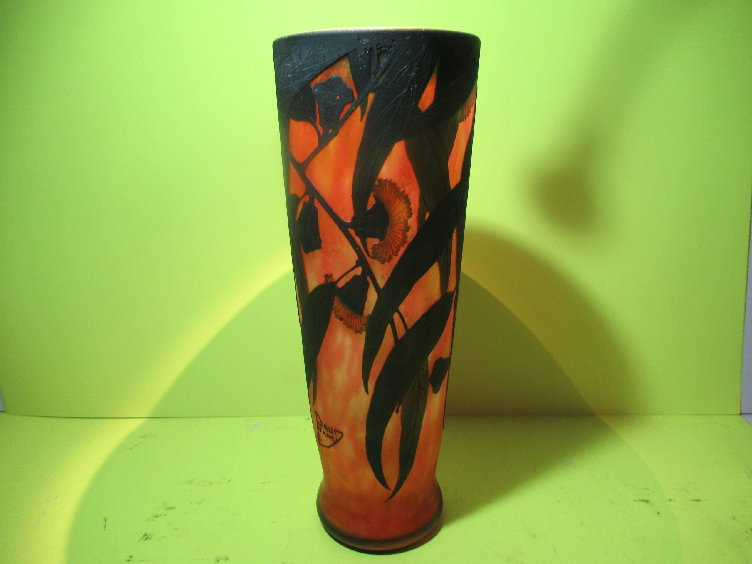 12-3/4×4.5 Red Floral Fire Daum Vase