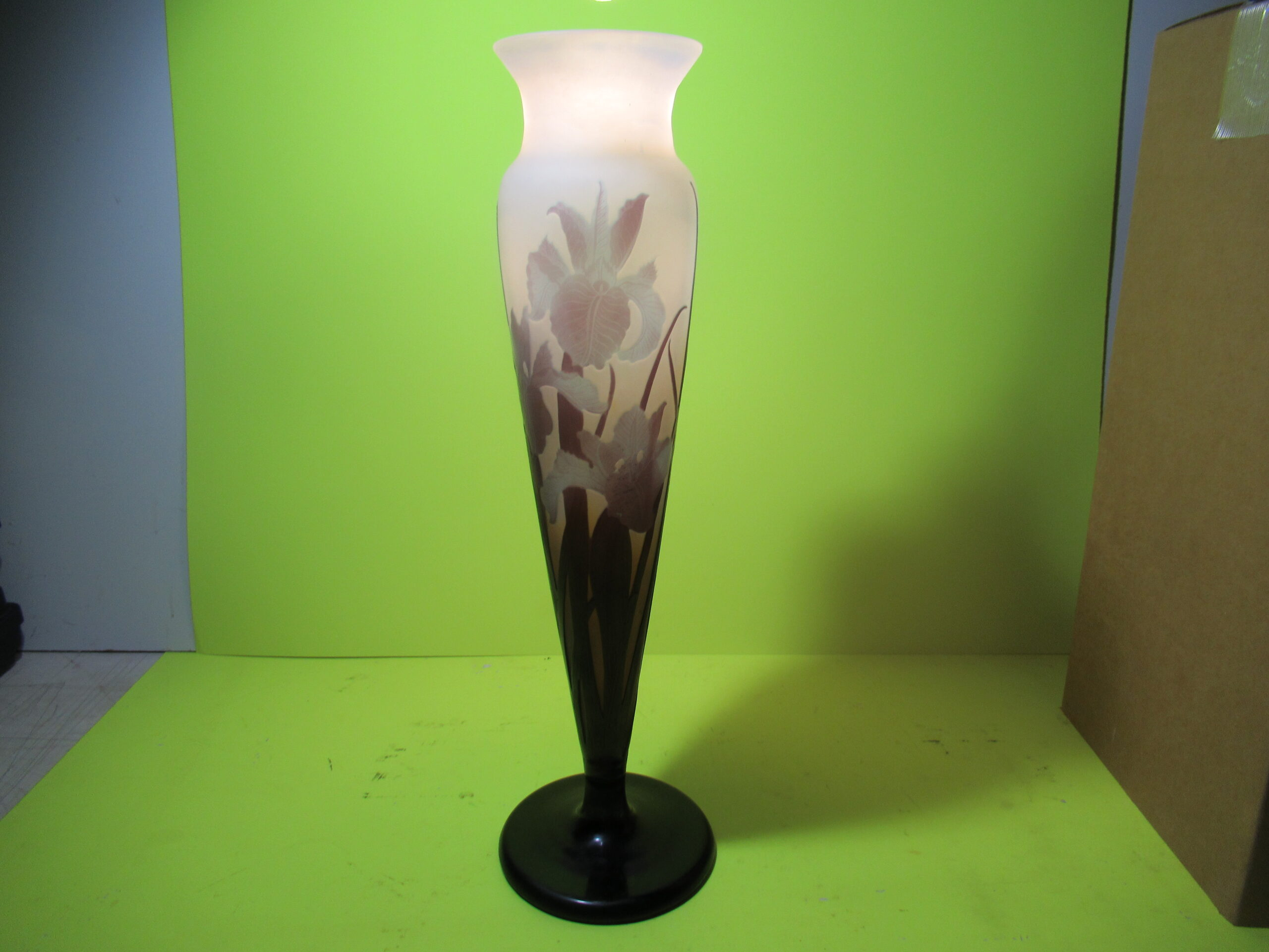 16-1/4×4-3/4 Blue/Purple Irene Galle Vase