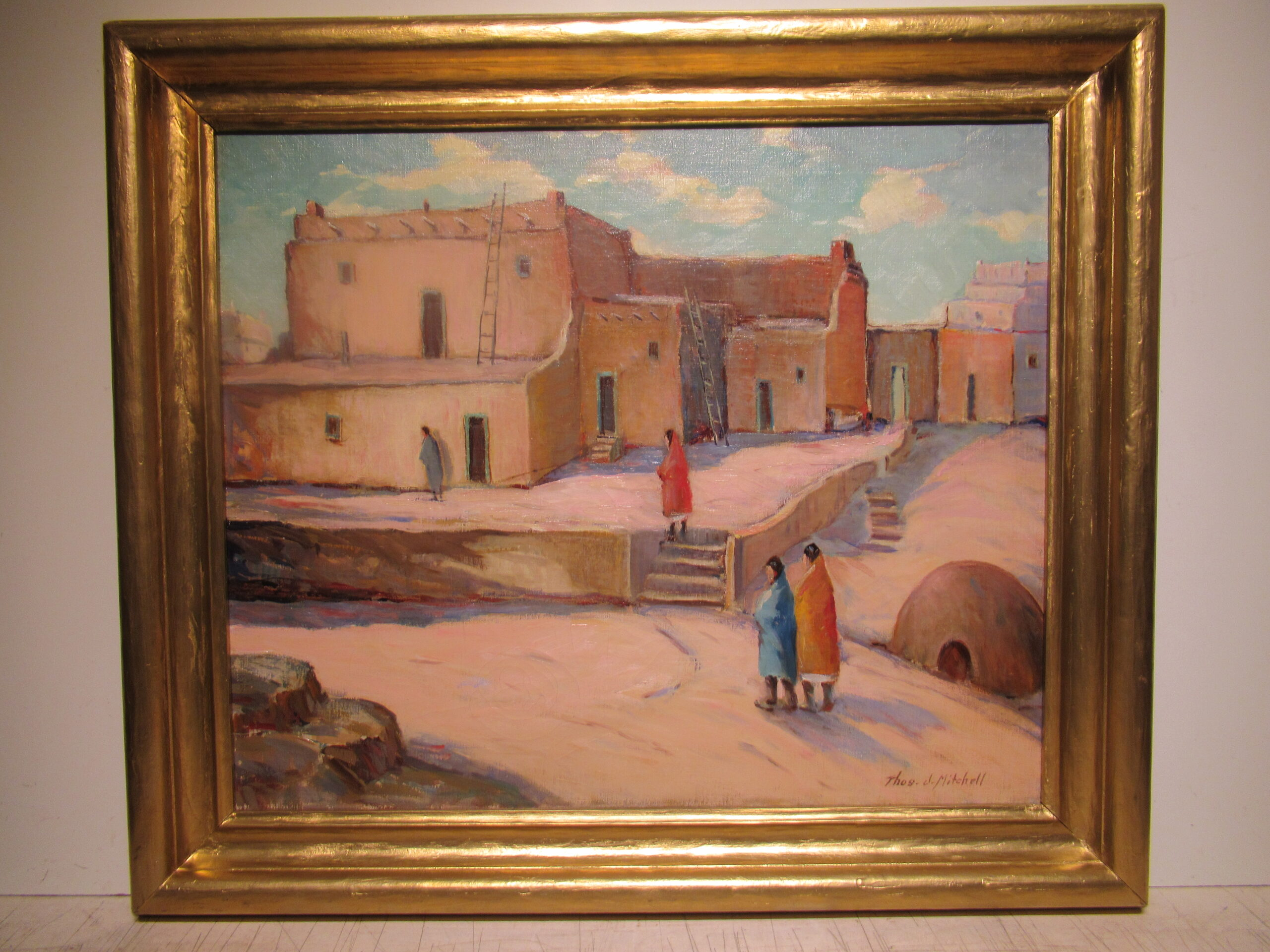 20×24 Thomas Michell 1930 Taos Pueblo Oil Painting