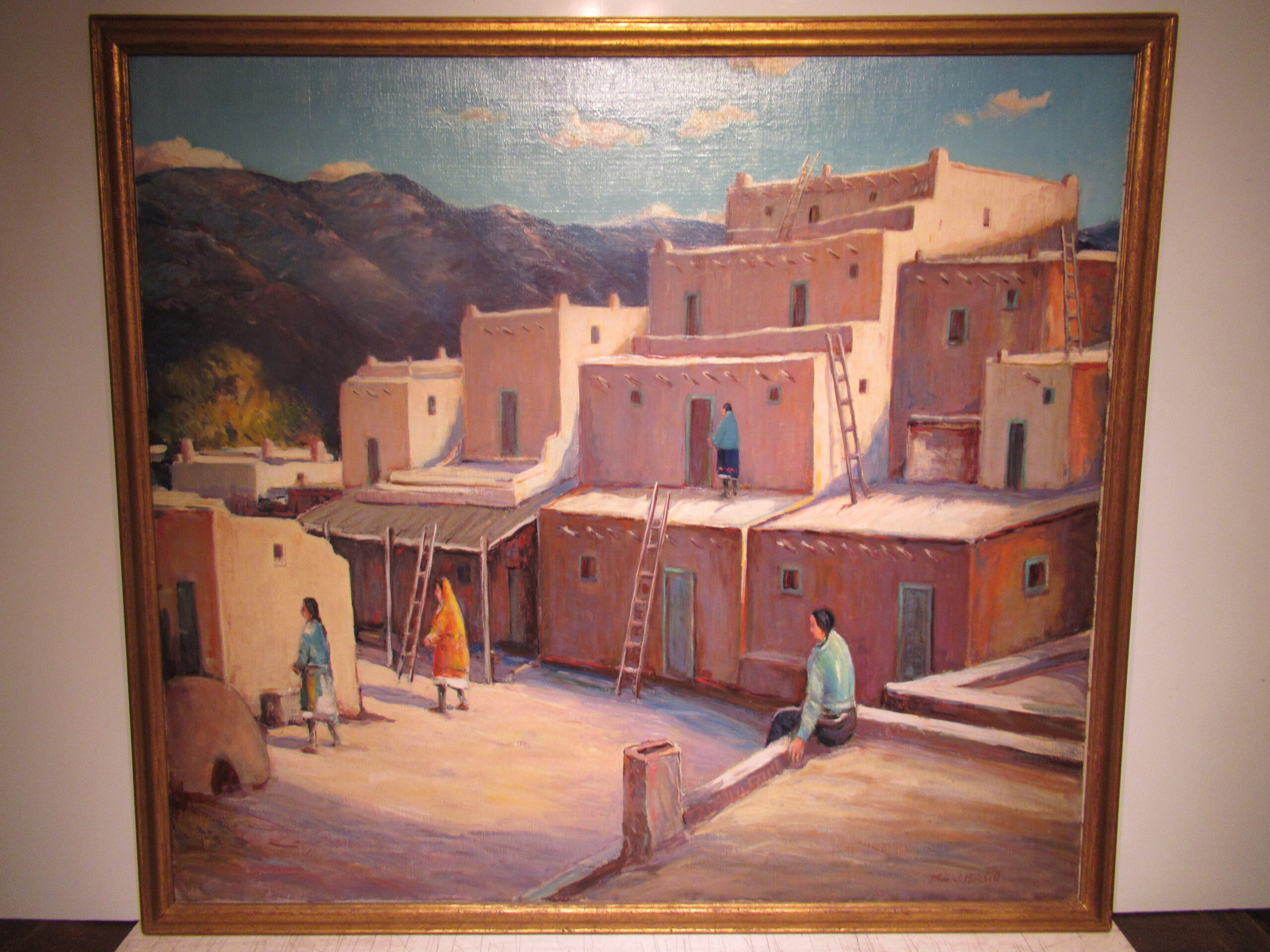 36×40 Thomas Michell 1930 Taos Pueblo Oil Painting