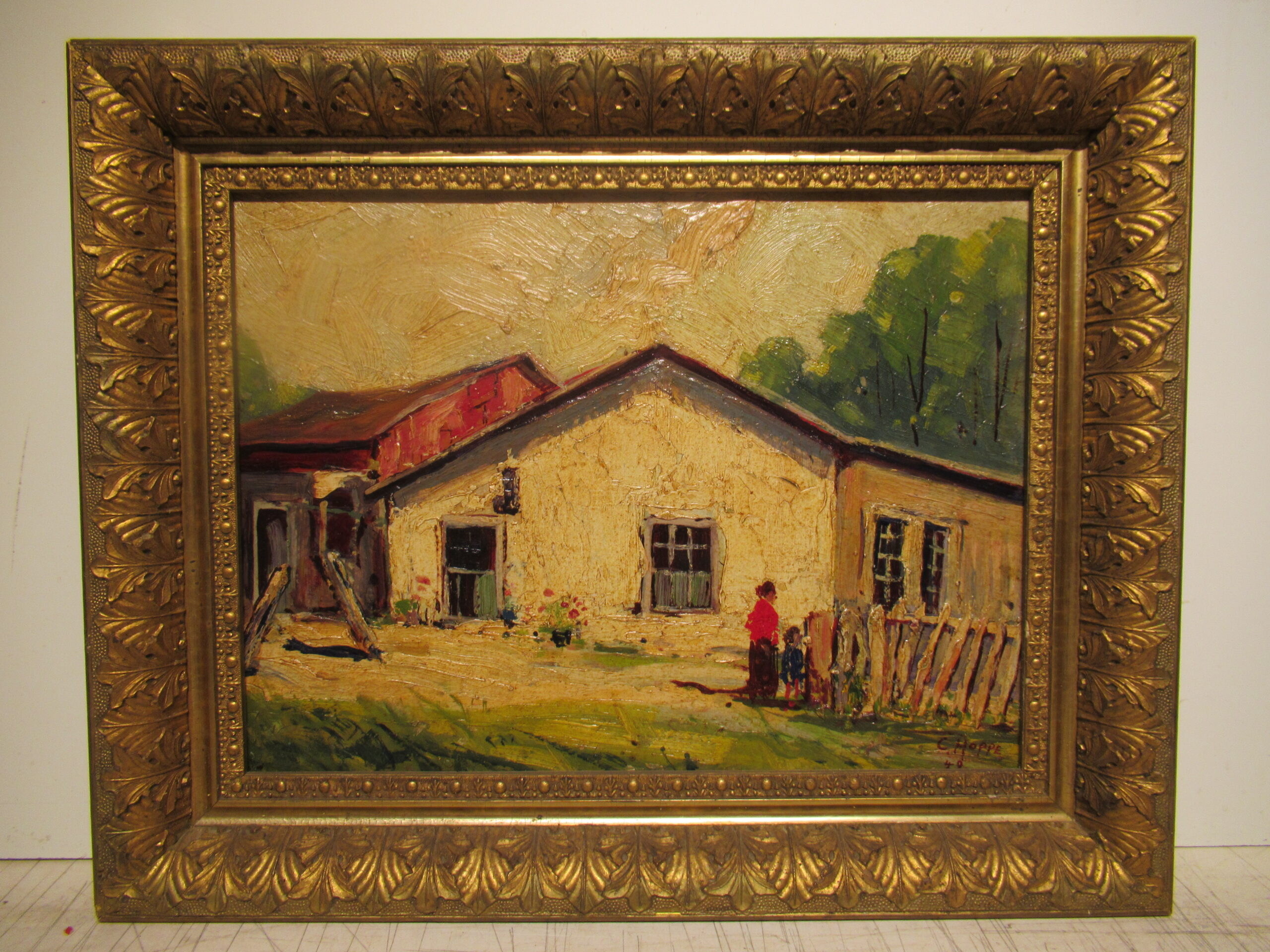 12×16 Carl Hoppe 1949 Old Doby 4th St. Oil Painting
