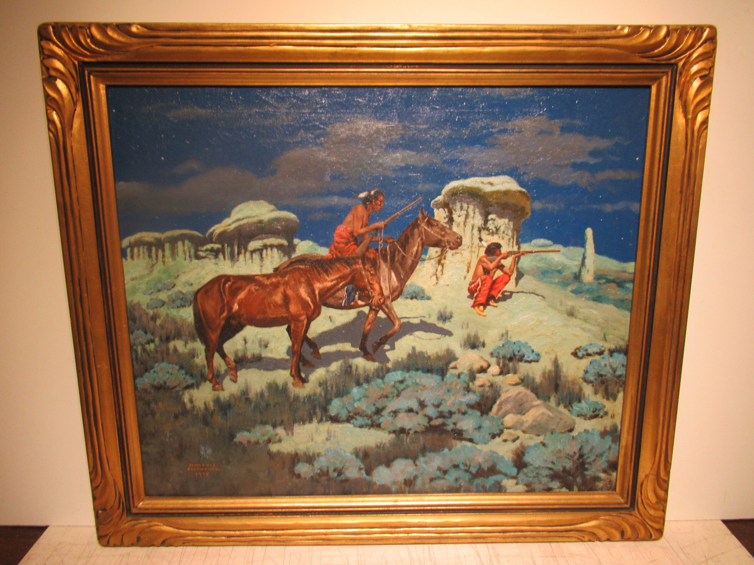 25×30 Clarence Ellsworth 1935 A Moonlit Messenger Oil Painting